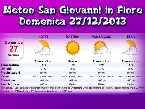 Meteocalcio sole e temperature vicine allo zero sulla sila for Meteo san giovanni in fiore